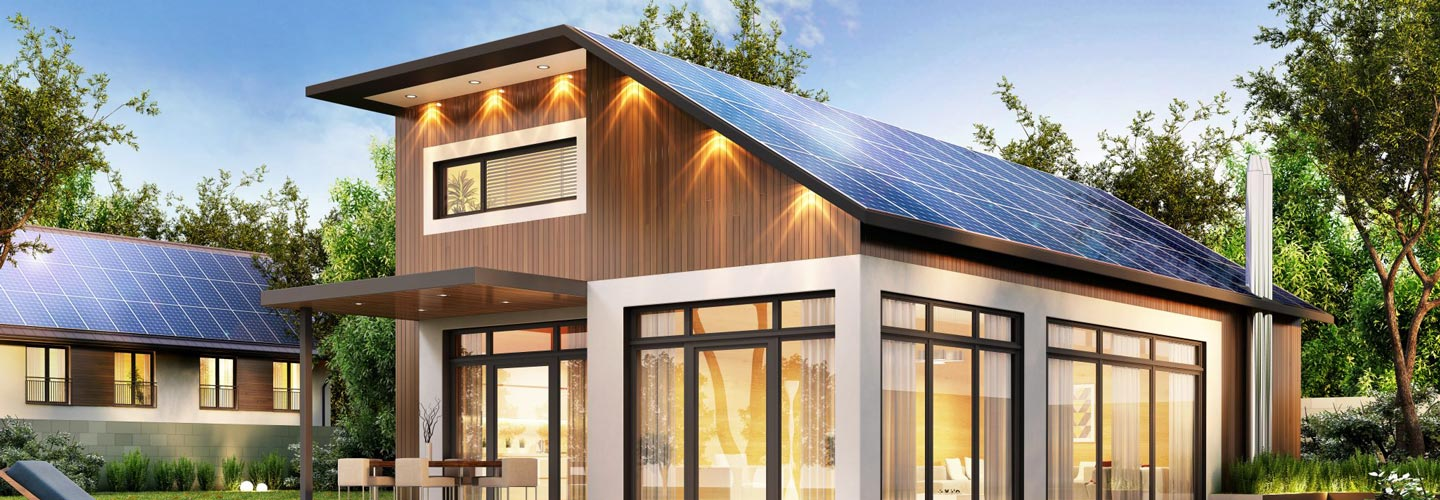 high end home with solar panels